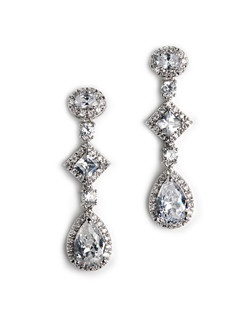 These wedding earrings or special occasion earrings are made with clear cut cubic zirconia in teardrop, square, oval, and round cut shapes, including an eye-catching array of tiny round-cut gems.
