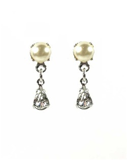 These Swarovski pearl studs with a small crystal drop are the right size for an understated look, to wear with a larger headpiece, or with a heavily beaded gown. Ivory Swarovski pearl, rhodium plate.