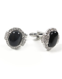 1920's inspired jet black cuff links make a perfect gift for the groom! Crafted with semi precious quartz set in rhodium plate.