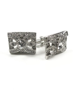 A perfect gift for the groom to wear on his wedding day! Art deco inspired cuff links set in rhodium plate. This classic style can be worn again and again!