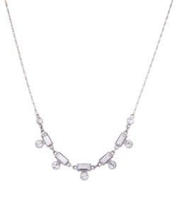 Another streamlined silhouette from the modern Petite Melody collection. This simple but elegant crystal necklace paired with the matching earring is a beautiful bridesmaid jewelry look. Maybe try the Petite Melody Drop necklace for the Maid of Honor in either the crystal or the pearl and crystal combination.