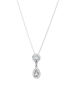 Celebrate the romance of the occasion with the delicate allure of this crystal double drop pendant. A romantic and delicate crystal teardrop pendant to suit many bridesmaid gowns for a classic romance styled wedding. Consider the Double Drop pendent for your Maid-of-Honor and the Teardrop pendent from the Romance collection for your Bridesmaids.