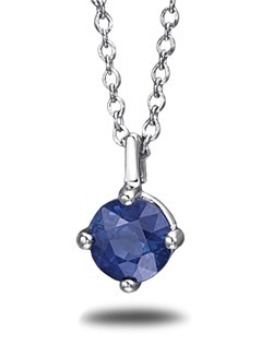 Beautiful in color, this sapphire pendant is perfectly complemented by a platinum setting with a matching platinum cable chain. The sapphire stone is hand-selected for the vivid medium dark blue and subtle violet hue.