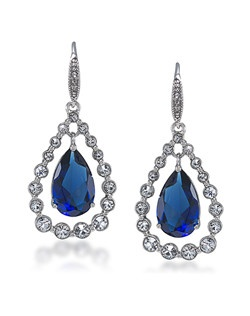 Uptown Girl Sapphire Crystal Teardrop Pierced Earrings