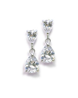 "Glowing with elegance, these classic pear shaped drop earrings measures .75"" long"