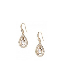 "The Audrey Earrings are a teardrop earring with floating center crystal design and crystal border. The delicate drop of this earring is elegant and fit for a Princess. Earring measures 1 1/4"" drop with a French wire hook. Available in gold tone with Topaz stones."