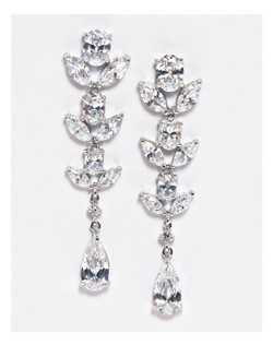 "Stunning vine and floral inspired statement earrings. Marquis, round and pear shaped stones make this earring sparkle. Rhodium Plating. * Length 2.0"" * Width .5"""