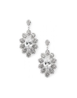 "Delicately placed rhinestones and a large clear crystal stone in the center. This statement style earring measures just under 2"" and .75"" wide."