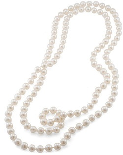 "The Jacqueline Pearl rope necklace is ultra Classic, elegant and versatile. This pearl strand measures 72"". This necklace can be worn infinite ways making it a must have for any jewlery collection. The hand polished pearls measure 10mm and are available in White."