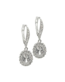 "Pavé set cubic zirconia give these romantic delicate earrings the look of heirloom jewelry. Each earring measures 1"" long. Euro wire closure."
