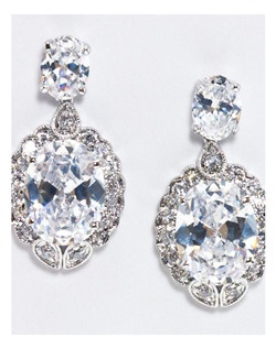 """This gorgeous oval shapedcubic zirconia earring has the look of """"Old Hollywood"""". Length 1.25""""  Width.75"""""""