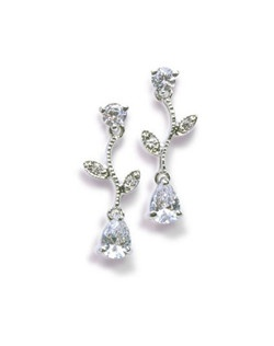 "Decorate your ears with the sparkling cubic zirconia vines of Tiffany-inspired design.  Each pierced earring measures 1"" and will be set in your choice of silver or gold findings."