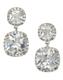 """Cushion-cutcubic zirconia,with encrusted pave' crystalsaround both stonesmake this a stunning earring.A soft and romantic look with rounded corners and larger facets to increase the stones brilliance. Length 1""""  Width .65"""""""
