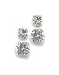 "Turn your evening into a simply sparkling affair with double drop cubic zirconias that glimmer in their prong settings. Each sterling silver post pierced earring measures 1"". The top stone measures 6mm, bottom stone measures 8mm."