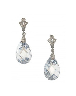 "Swarovski crystal multi-faceted pear shaped drop dangles from an art deco inspired scalloped top, encrusted with tiny pave' crystals.   Length 1.25"" Width .5"""