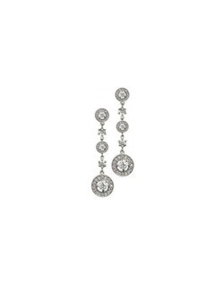 Intricate and elegant -- and, at just under 2 inches. The pave' design uses over 100 best quality cubic zirconia to give this pair of pierced earrings an heirloom charm and vintage feel.