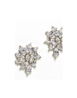 """Marquis crystals are set in a pretty floral pattern. At .75"""" they are just the right size as to not overwhelm your look. Each earring has rhodium plated findings for a fine jewelry look."""