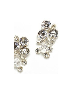 "Swarovski crystals shine in a variety of shapes and sizes in this garden inspired design. Each pierced earring has a sterling post with rhodium plated findings and measures 1.5"" long."