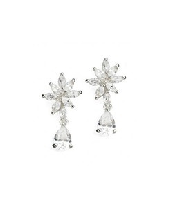 "Flirty and flowery cubic zirconia earrings. Each earring measures less than 1"" long."