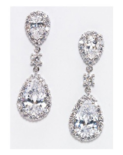 """Modern classic pear shaped cubic zirconia statement earrings.Pave' encrusted stones outline this stunning earring. rhodium plating. Post style back. Length 1.75"""" Width .75"""""""