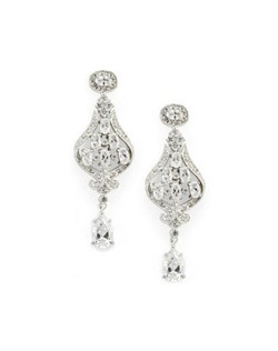 These beautiful chandelier earrings make a statement on their own, or when paired with the matching cuff bracelet. Made from cubic zirconia for really gorgeous sparkle.