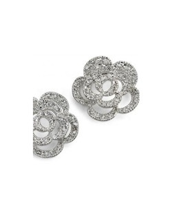 "Leilani means ""heavenly flower"" and what a fitting name for these delicate stud earring. Hand set cubic zirconia crystals. Each pierced earring measures .5"" in diameter."