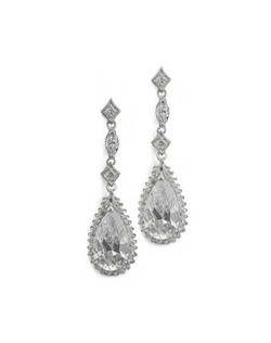 Gorgeous pear cut cubic zirconia is the focus of these modern vintage style earrings. Measures 1.5 long