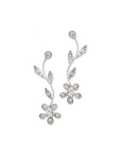 "Fun and flirtatious flowers on leafy garlands decorate your ears, specially fashioned with sparkling Swarovski crystals and cubic zirconia. Measures 1.25"" long."