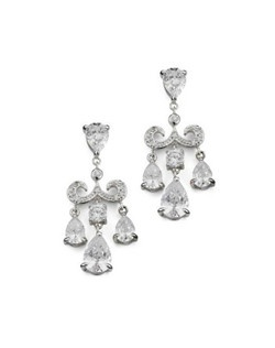 """Vintage style with modern flair, these chandelier earrings are made with cubic zirconia for the perfect amount of sparkle. Each pierced earring measures 1.5"""" long."""
