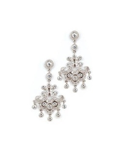 """These vintage style earrings give just the right amount sparkle with dozens of dainty cubic zirconia. Each chandelier style earring measures 1.75"""" long."""