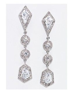 """Art Deco inspired cubic zirconia and crystal statement earring. Rhodium Plated. Length 2.25"""" Width.50"""""""