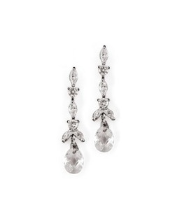 "At 2.25"" long, this earring has a dramatic drop style, but the marquis and round cut cubic zirconia keep the look delicate. Each earring is finished with a multi-faceted clear crystal in a silver setting."