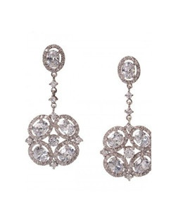 "Art-Deco inspired dramatic statement earring. Oval and round cubic zirconia shaped into a square drop. Length 2.0"" Width 1.5"""