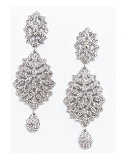 """Dramatic crystal and cubic zirconia earring. Micro pave' stones are encrusted tomake this earring sparkle. * Length: 2.5"""" * Width: 1.0"""""""