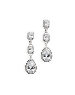 """These substantial dangles make a bold statement in top quality cubic zirconia. Each pierced earring measures 2"""" long."""