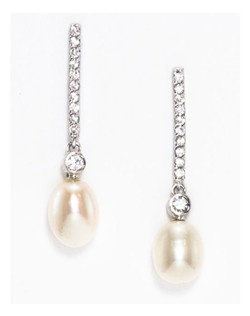 """A elegant classic earring.Pave' crystals in a linear shape with a freshwater pearl that drops off the end.This earring has great lines. Rhodium plating. Length 1.5"""" Width .5"""""""