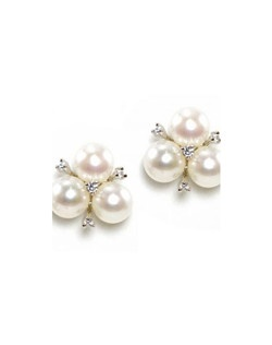 """A cluster of three pearls is finished with a sprinkling of crystals for a touch of sparkle. Rhodium silver plating. Measures .5"""" in diameter"""