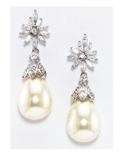 "Felice with it's elegant style features marquis shaped cubic zirconia cluster top with a pear shaped freshwater pearl drop. Length 1.5"" Width .50"""