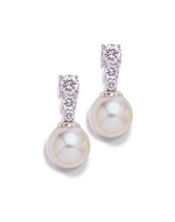 """Think classic Chanel, but with a twist. Cubic zirconia with an icy sheen hang in three descending sizes, finishing in a luminous pearl drop. Each pierced earring measures .75"""" Available in Silver finish."""