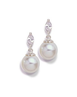 Graced with delicate marquis-cut stone and a 8mm pearl drop. Your choice silver or gold finish  Each measures .5 inches.