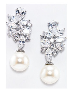 "This romantic floral inspired earring features a variety of cubic zirconia shapes to cluster in a floral pattern. A 10mm freshwater pearl dangles at the bottom of the earring.  Rhodium plating Measures 1.5"" long and .75"" wide"