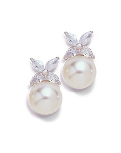 "Flower petals of Marquis-cut cubic zirconia perch on a gleaming 8mm pearl for a delicate accent. Each pierced, stud style earring measures .5""."
