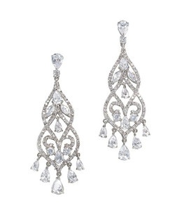 "Dramatic Chandelier Earring. Tiny cubic zirconia stones lining the rim, in a swirl shape open work design. Length 2.5""  Width .85"""
