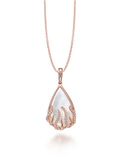 """The mini pink gold Flame Drop Luna pendant that suspends on an 18"""" cable chain is a heart warming sight to see. This Frederic Sage design is crafted gorgeously with pave diamonds on four long strands alternating with three short polish gold strands that looks like shimmering flames shooting beneath the pear shape White Mother of Pearl. Available in any metal. WMOP 3.50 CT, 34 DIA 0.09 CT"""