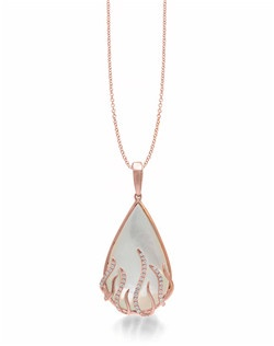 "The medium pink gold Flame Drop Luna pendant that suspends on an 18"" cable chain is a heart warming sight to see. This Frederic Sage design is crafted gorgeously with pave diamonds on four long strands alternating with four short polish gold strands that looks like shimmering flames shooting beneath the pear shape White Mother of Pearl. Available in any metal. BMOP 9.19 CT, 44 DIA 0.18 CT"