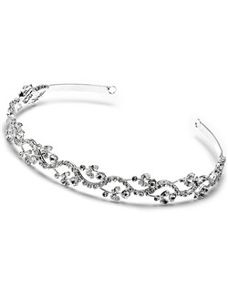 Floral Garden Wedding Headband has a flowing floral and scroll pattern made of quality Austrian rhinestones.