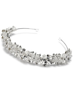 The Eternity Swarovski Crystal Wedding Headband is made of hand-cut Swarovski Rhinestones along a silver plated design.