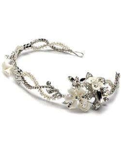 Divine Rose Wedding Headband is a stunning antique silver flower headband with weaves of floral detailing encrusted with rhinestones.
