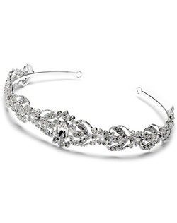 Dominique Rhinestone Wedding Headband is a vintage headpiece with encrusted rhinestones and a sparkling oval crystal in the center.