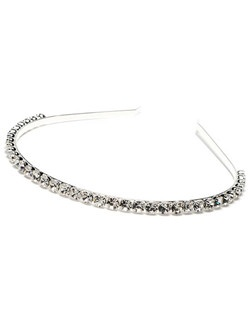 Destiny Rhinestone Headband is a single row of vibrant and rhinestones on top of a single silver plated band.